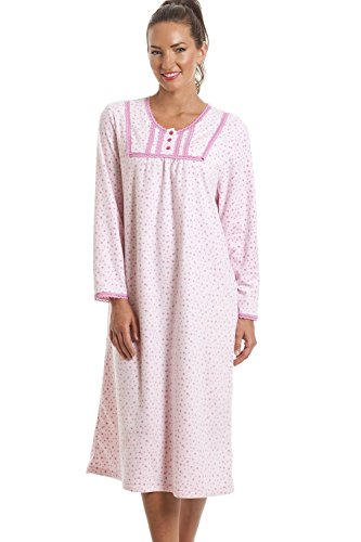 Camille - camicia da notte classica a manica lunga in pile -rosa chiaro con pois 46/48