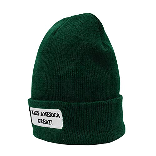 xMxDESiZ Winter Solid Color Keep America Great President Election Beanie Cap Unisex Hat (Gnome Dodger)