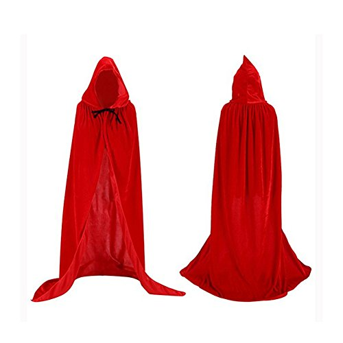 Labellevie Umhang mit Kapuze Lange Samt Cape Vampir Kostüm Halloween Erwachsener Unisex (Kostüm Roter Mantel)