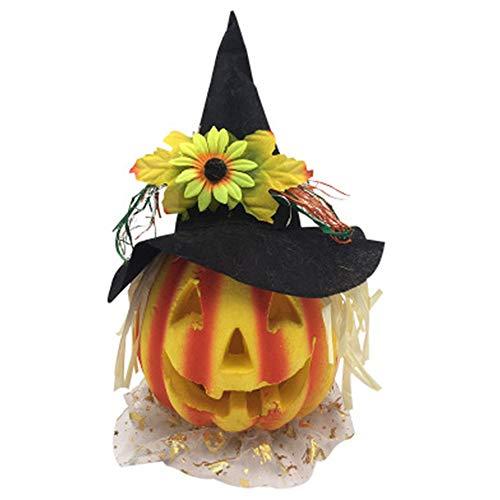 LHFING Halloween Laterne Schwarz Cap Mit Kürbis Licht Blasen Lustige Kürbis Eimer Dress Up Requisiten Arrangement Event Space Günstige Kinder Dekorieren ()
