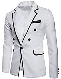 Dihope Hommes Slim Fit Blazer Retro Col Revers Élégant Blouson Veste de  Costume Festival Cocktail Business a558f90d635
