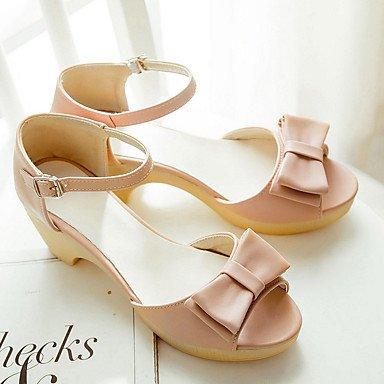 LvYuan Damen-Sandalen-Büro Kleid Lässig-PU-Blockabsatz-Club-Schuhe-Blau Rosa Weiß White