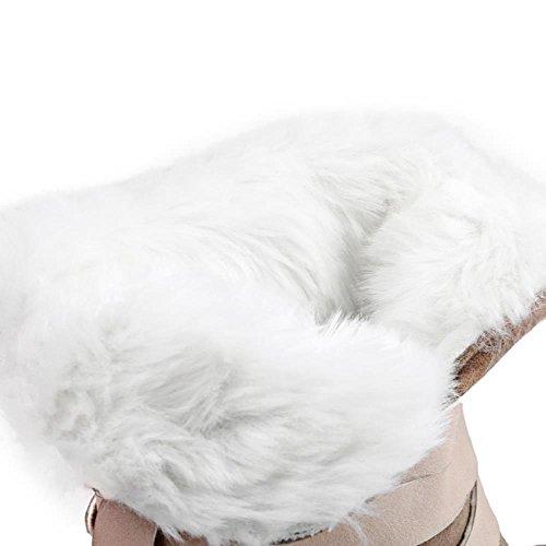 TAOFFEN Damen Winter Warm Flache Knoechel Stiefel Mit Schnalle Orange