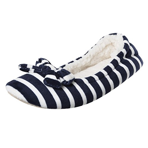 Ladies Navy/White Stripey Ballet Ballerina Slippers Fabric Non-Slip Sole UK 5-6