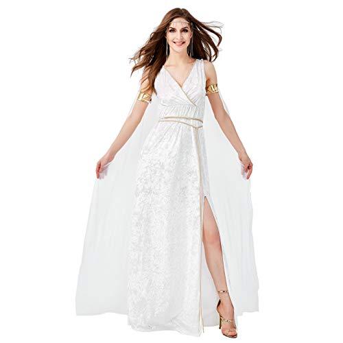 LOLANTA 5 STÜCKE Frauen Sexy Athene Göttin Kostüm Damen Halloween Grecian Toga Kostüm Königin Weißes Kleid (X-Small(DE - 5 Stück Sexy Damen Kostüm