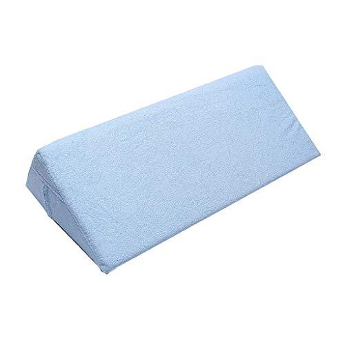 JAG Almohada Triángulo, Almohada Cintura Lateral Paciente Anciano Mujeres Embarazadas Cojín antiescaras Algodón Esponja Elástica Alta KD (Color: Azul, Tamaño: 70x17x23cm)