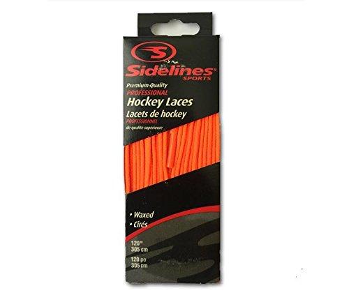 Schnürsenkel farbig gewachst Schuhbänder für Eishockey sidelines (neon orange, 305 cm)