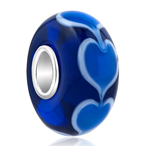 Uniqueen Heart with Heart Murano Glass Bead for European Charms Bracelets
