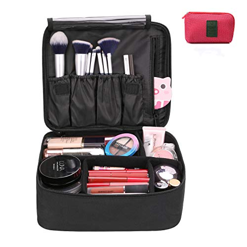 DIMJ Kosmetiktasche, Mädchen Schminktasche und rote Kabel Aufbewahrungstasche, Tragbare Doppelschicht Make up tasche, 26 * 20 * 10cm