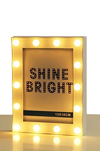 Spetebo Bilderrahmen weiß mit 14 LED - Foto Rahmen 13x18 cm - Bilder Halter beleuchtet