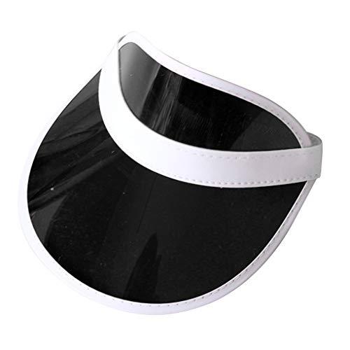 Floridivy Sommer-Unisex Frauen Männer Sonnenhut Süßigkeit Farbe Transparent Leer Top Kunststoff PVC Sonnenschutz-Hut Schirmmuetzen Fahrrad Sonnenhut (Schwarze Hüte Kunststoff-spitze)