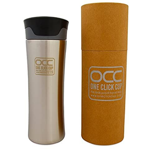 Leak Proof TRAVEL MUG * Premium Quality Hybrid Flask * Spill Proof One Click Operation, Push to Drink, Release to Auto Seal * Vacuum Insulated * Inner and Outer Stainless Steel * FLAME model * 380 ml * 5 Year Guarantee * Dishwasher Safe (380ml, Black)