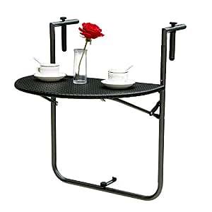 IKAYAA Regolabile Pieghevole Balcone Deck Tavolo Appeso Patio Tavolo Giardino Patio Mobili Test Report di Ringhiera per EN581