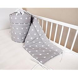Protection de tête de nid Amilian® nid de garde tête de lit 180x30 cm literie protection de bordures de lit bébé étoile gris