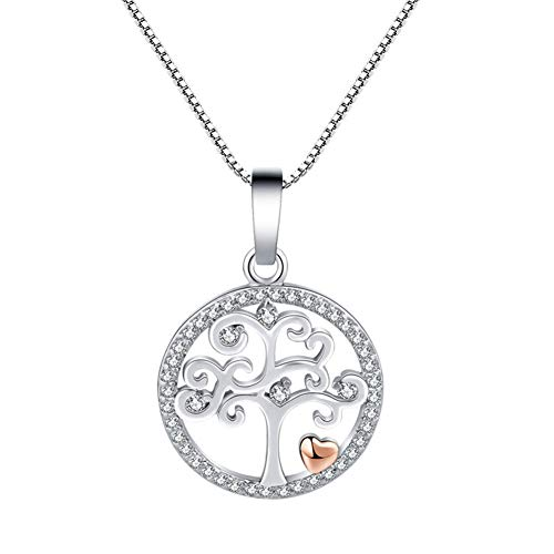 ZHWJH Liebe Herz Baum des Lebens Halskette Diamant Anhänger mit 18