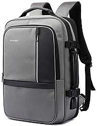 Xnuoyo 17.3 Pollici Espandibile Laptop Zaino Antifurto, Impermeabile TSA Zaino Porta PC Convertibile per Notebook (Grigio)