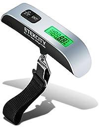 Etekcity EL11H Báscula Digital de Equipaje 50kg, Balanza Ergonómica con Sensor de Temperatura, Dinamometro con Pantalla LCD, Función de Tara y Datos-Bloqueados (Con Retroiluminación)