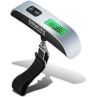 Etekcity Digitale Kofferwaage Gepäckwaage Handwaage Hängewaage LCD-Display mit Hintergrundbeleuchtung und Temperaturanzeige, 50 kg Kapazität, Silber Schwarz