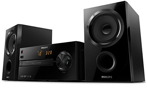 Philips BTM1560 Sistema Hifi Audio Stereo con Bassi Potenti, Bluetooth, Lettore CD, USB, 30 W, Nero