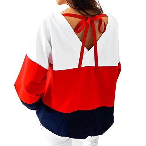 Frauen Sweatshirt - Langarm, Open Back, Lace Up, beiläufige lose Streifen-T-Shirts Tops Pullover Blusen - Juleya (Top Streifen-pullover)