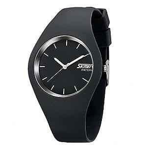 downj Casual Stile semplice cinturino in silicone Unisex orologi sportivi 30M impermeabile (Grigio)