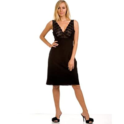 Camille Womens Ladies Black Nightwear Chemise Full Slip