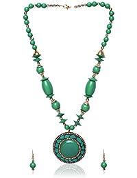 Shopolica Green Metal Strand Necklace Set For Women (18)