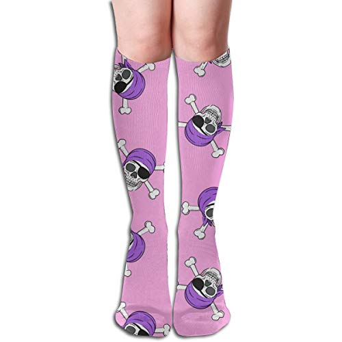 Women's Fancy Design Stocking (small Scale) Pirates - Skull And Cross Bone - Bright Pink - LADBS Multi Colorful Patterned 50CM(19.6Inchs) Knee High Socks