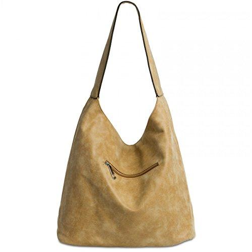 CASPAR TS1015 Damen Vintage Schultertasche Camel