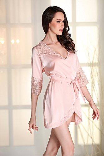 Kenmont Satin Morgenmantel Bademäntel Nachthemd Damen Kimono Negligee Hohle Spitze Nachtwäsche Pyjama Schlafanzug Rosa