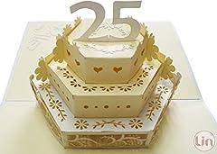 Idea Regalo - LIN - Pop Up 3D Biglietto di auguri per il anniversario del matrimonio, 25 anni, (#211)