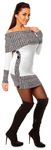 Zeta Ville - Robe pull en maille encolure Bardot manches longues - femme - 913z Blanc