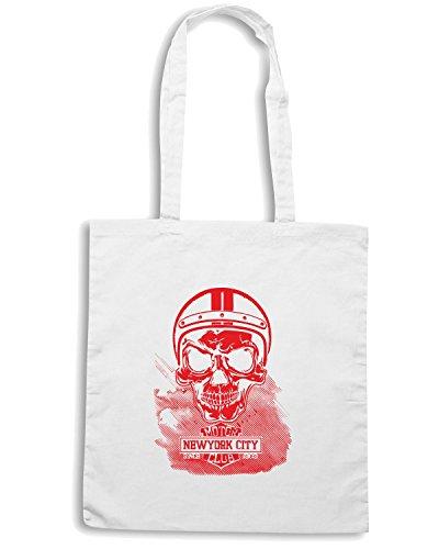 T-Shirtshock - Borsa Shopping TB0483 vintage motorcycle new york skull Bianco