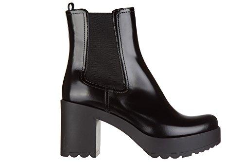 Prada stivaletti stivali donna con tacco in pelle nero EU 38 1T100H_OLE_F0002