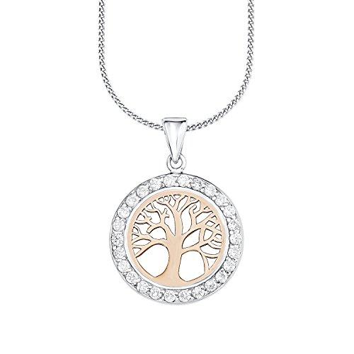 Amor Damen-Kette 45 cm mit Anhänger Lebensbaum Bicolor 925 Silber teil-rosévergoldet Zirkonia weiß