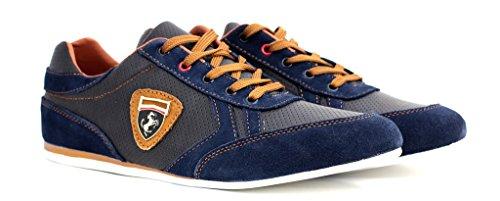 Baskets Decontractés Pour Hommes Chaussure Cuir Lacet Chaussures Élégantes Marine/Marron