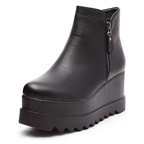 Mforshop stivaletti tronchetto eco pelle scarpe donna cerniere con zeppa platform kl-191 - nero, 40