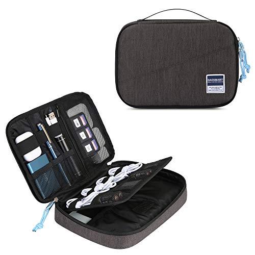 BAGSMART Elektronik Organizer Tasche Elektronik Tasche Doppelschichte für 7.9''iPad Mini, Kabel, Festplatte, Adapter, Karten, Schwarz (Flache Ipad Kabel)
