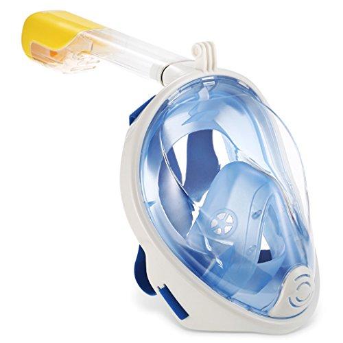 180° Full Face Schnorchel Maske, Fan Sport Panoramic View Tauchmaske,Faltbarer Dry Snorkel und abnehmbare Kamera Halterung, Free Breath Schnorchel Set mit Anti-Fog Anti-Leck für Kinder,Jugendliche und Erwachsene (Blue S/M)
