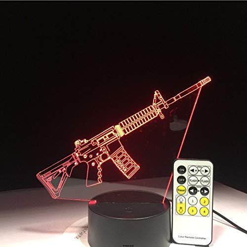 (Kampf Waffe Sniper Gewehr Silent Gun M4A1 3D Led Lampe 7 Farben Base Night Light Game Fan Nacht Gif)