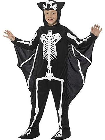 Smiffys, Kinder Unisex Fledermaus Skelett Kostüm, Bodysuit mit Kapuze und Flügeln, Alter: 7-9 Jahre, (Amazon Halloween-kostüme Für Kinder)