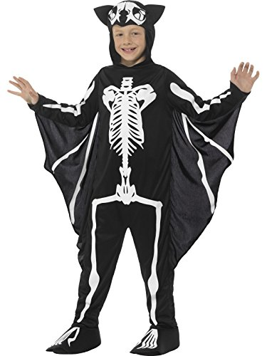 Smiffys, Kinder Unisex Fledermaus Skelett Kostüm, Bodysuit mit Kapuze und Flügeln, Alter: 7-9 Jahre, 45123