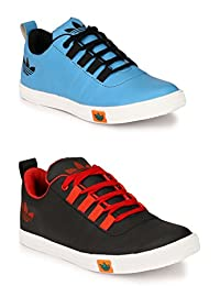 Lavista Men's Black And Sky-Blue Sneaker Casual Shoe