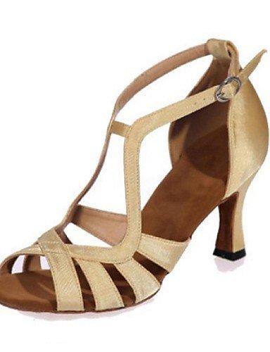 ShangYi Chaussures de danse ( Noir / Marron / Rouge / Argent / Or ) - Non Personnalisables - Talon Bobine - Satin - Latine Black