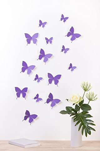 Bilderdepot24 3D Style Butterflies 15-Piece Set Including Adhesive Dots lavender