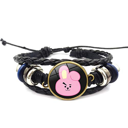 YEeyuTrwd BTS Armband   BTS Cartoon Glas Cabochon Schwarz Leder Armband Armreif Vintage Damen Schmuck(JUNG KOOK-2)