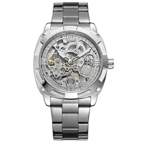 Huacat Herrenuh Edelstahl Stahlband Hohl Wasserdicht Automatische Mechanische Uhr Armbanduhr FüR Herren Damen Slim Mit Mesh Metall Armband