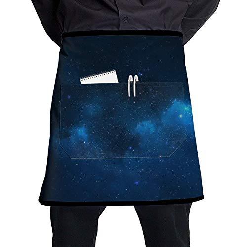 MSGDF Soft Durable 100% Polyester Waterproof Kitchen Bib Apron Pockets Waist Apron Kitchen Cooking Restaurant Bistro Half Aprons for Men Woman - Blue Sky Galaxy