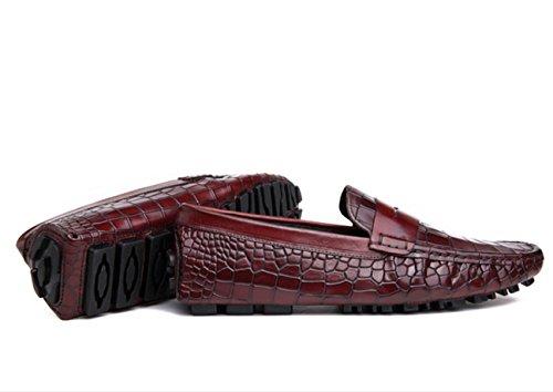 WZG chaussures Peas hommes chaussures première couche de chaussures en cuir de vache crocodile cuir des hommes chaussures de sport conduite chaussures chaussures marée Angleterre wine red