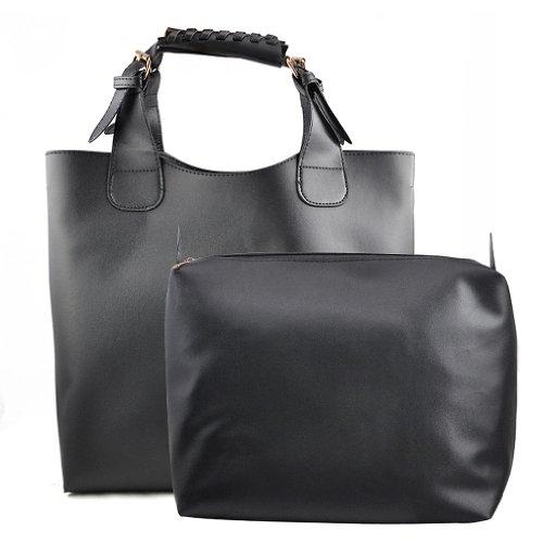 SODIAL(R) Womens Celebrity Style trenzado Bucket Shopper Shopping Totes Hobo Bolsa de hombro - Negro